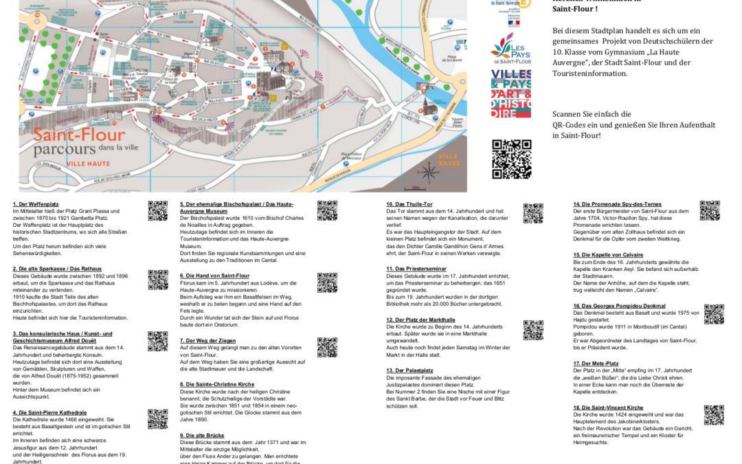 Le plan de la ville traduit en allemand par les élèves du Lycée de la Haute Auvergne de Saint-Flour