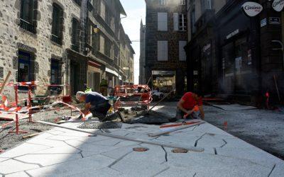 Rue Marchande :Le tapis central progresse