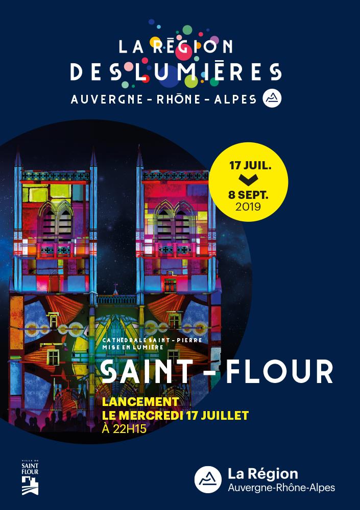 lancement lumiere région sur la cathedrale de saint flour