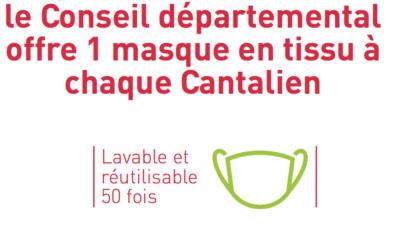 Covid-19  Le Conseil départemental offre un masque en tissu à chaque Cantalien