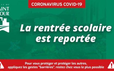 Covid-19   La rentrée scolaire est reportée