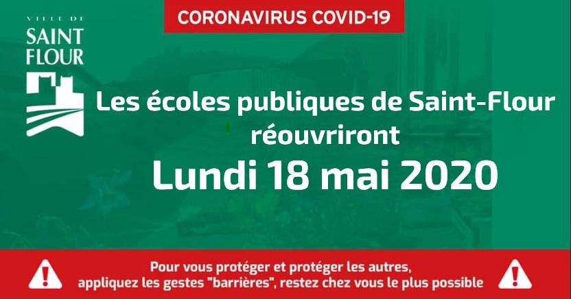 Réouverture des écoles publiques de Saint-Flour, Lundi 18 mai 2020