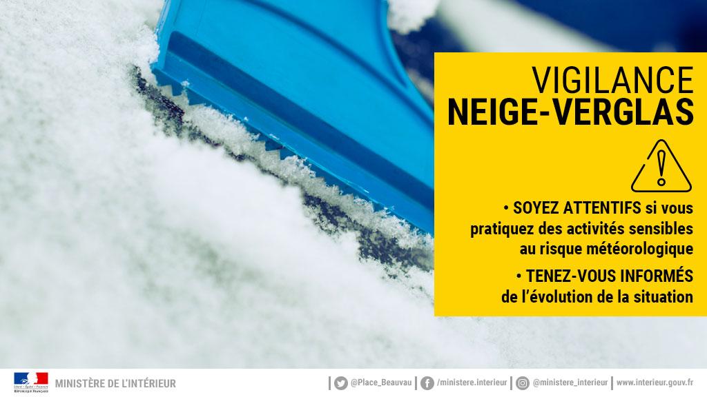 Vigilance JAUNE Neige-Verglas – Actualisation des mesures dans le Cantal au 31 déc. à 14h