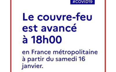Covid-19   Couvre-feu à 18h00