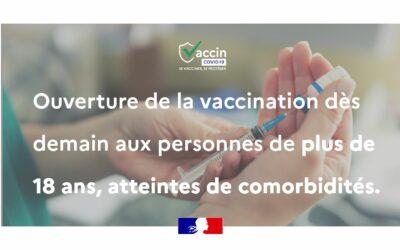 Ouverture de la vaccination aux plus de 18 ans atteints de comorbidités