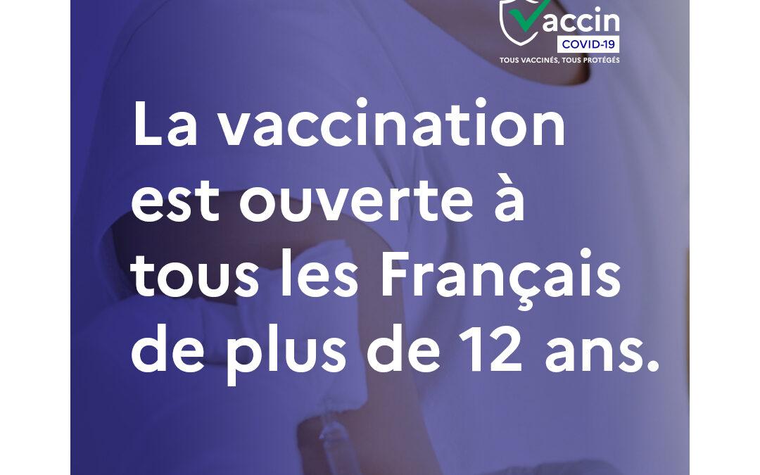 Vaccination ouverte au plus de 12 ans
